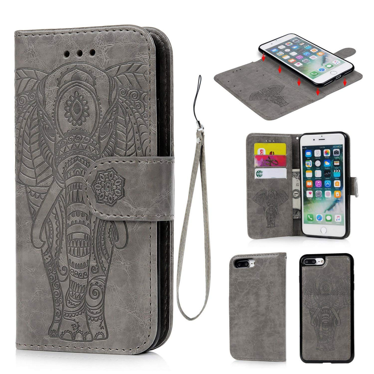 sports shoes 16138 fa592 iPhone 8 Plus Case, iPhone 7 Plus Case PU Leather Wallet Case Oil Wax  Embossed Elephant TPU Inner Detachable Magnetic Credit Card Holders for  iPhone 7 ...