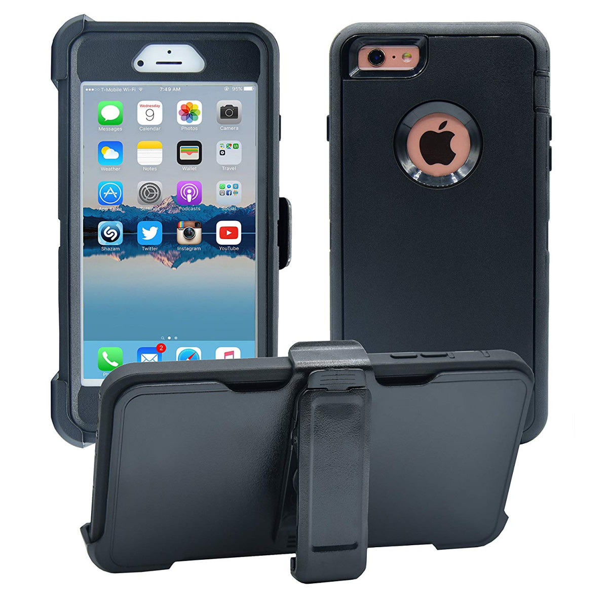 the best attitude 3b629 02d91 iPhone 6 Plus / 6S Plus Cover | 2-in-1 Screen Protector and Holster Case |  Military Grade Edge-to-Edge Protection with carrying belt clip | Drop Proof  ...