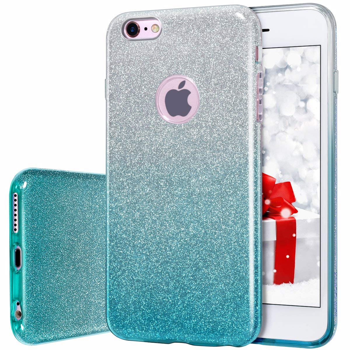 new arrival 43e61 1dabe MATEPROX iPhone 6s Plus Case iPhone 6 Plus Case Glitter Slim Crystal Bling  3 Layer Hybrid Protective Case for iPhone 6s/6 Plus 5.5'' (Gradient Green)