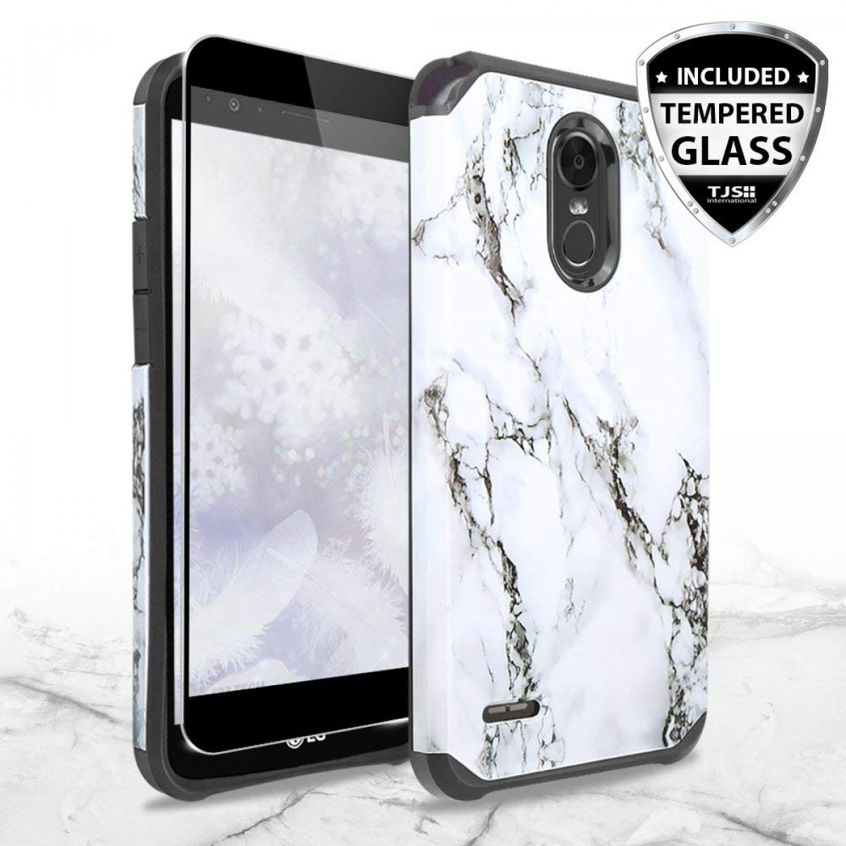 purchase cheap 84ae1 49bc5 LG Stylo 3 Case, LG Stylo 3 Plus Case, with TJS [Full Coverage Tempered  Glass Screen Protector] Ultra Thin Slim Hybrid Shockproof Drop Protection  ...