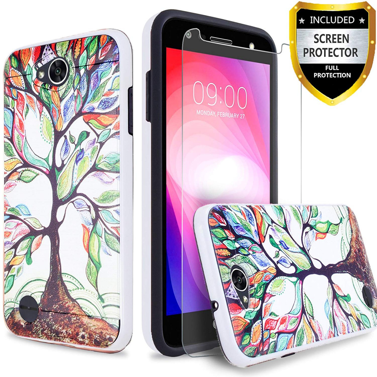 new product 48eb7 4d94c LG X Charge Case, LG Fiesta 2 Phone Case, LG Fiesta LTE Case, LG X Power 2  Case [Premium Screen Protector Included] Circlemalls Hybrid Shockproof Dual  ...