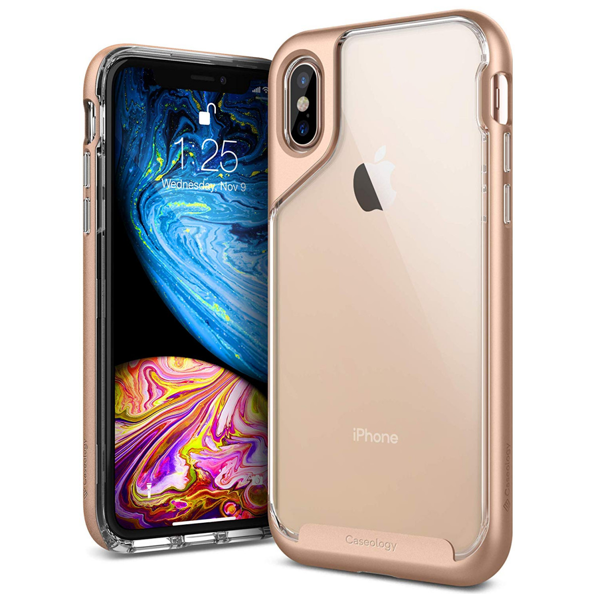 separation shoes 15add 9997b Caseology [Skyfall Series] iPhone Xs/iPhone X Case - [Clear Back/Premium  Finish] - Gold