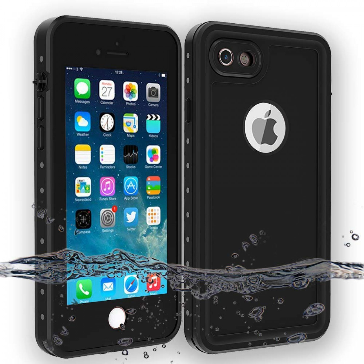 best authentic a9804 904fb iPhone 7 and iPhone 8 Waterproof Case, Besinpo Underwater 6.6ft 30 minutes  Full Body cases, military grade protective cover (4.7 inch Only,Black)