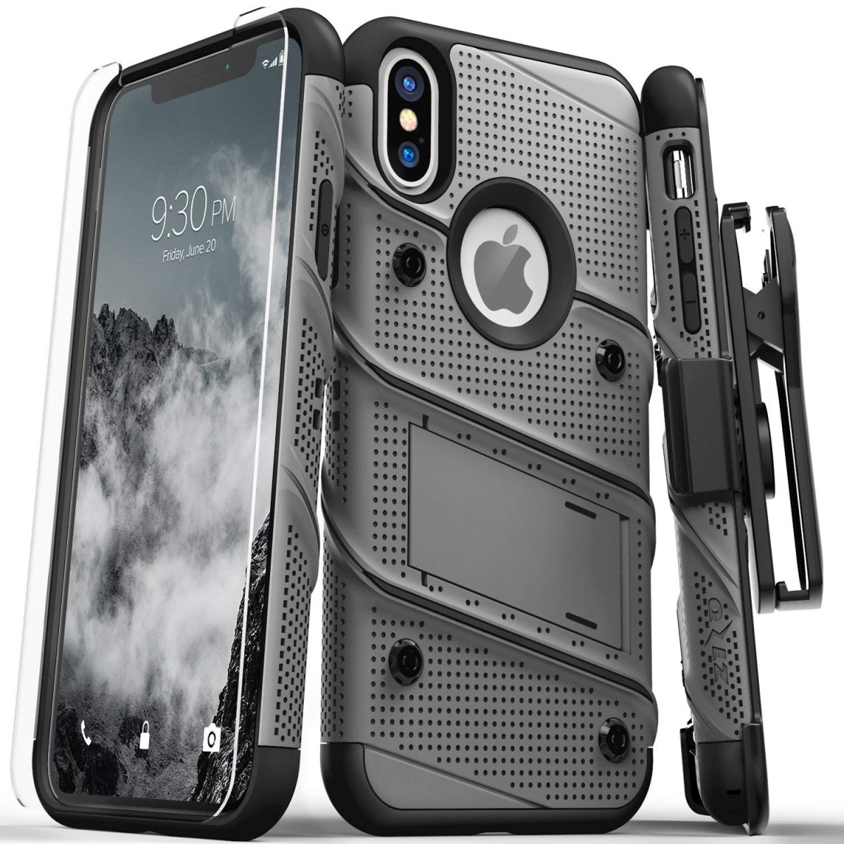 super cheap c1c61 15218 Zizo Bolt Series Compatible with iPhone X Case Military Grade Drop Tested  with Screen Protector, Kickstand and Holster iPhone XS Metal Gray
