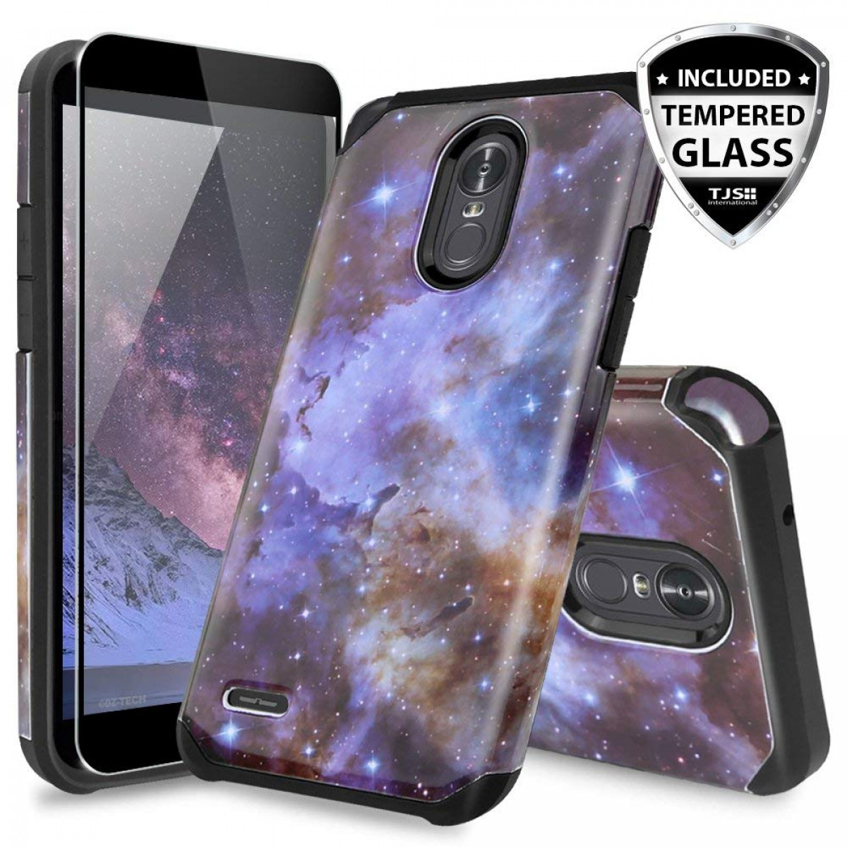 info for a5b72 bdb87 LG Stylo 3 Case, for LG Stylo 3 Plus Case, with TJS [Full Coverage Tempered  Glass Screen Protector] Ultra Thin Slim Hybrid Shockproof Drop Protection  ...