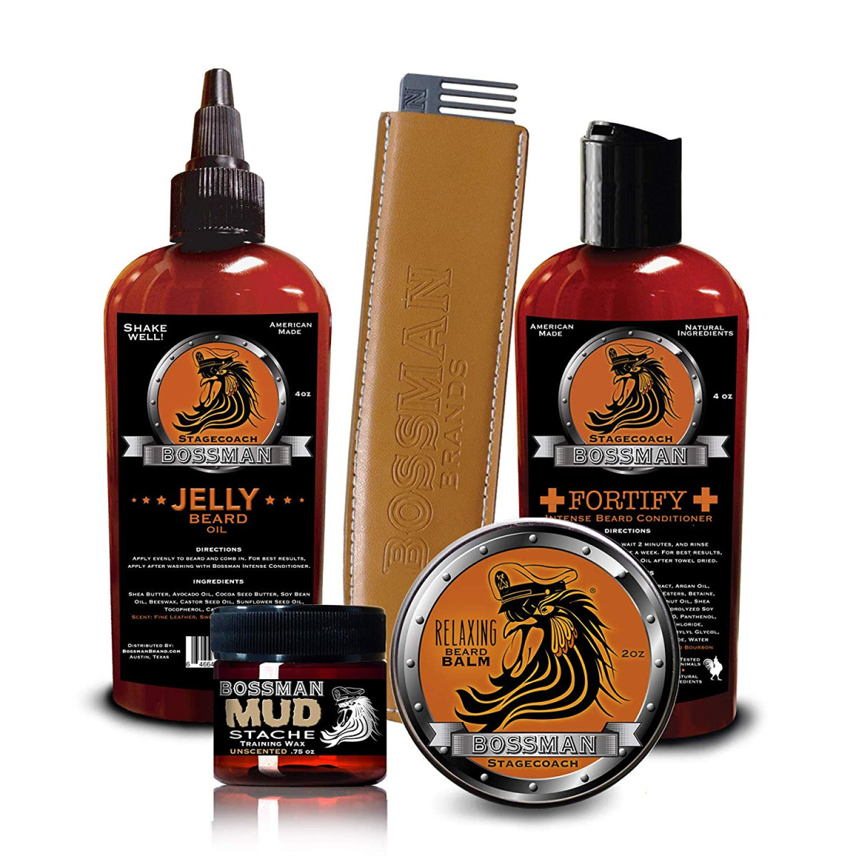 Complete Facial Hair Care Kit - Stagecoach - Jelly Beard Oil, Relax Beard  Balm, Fortify Intense Beard Conditioner, Mudstache Mustache Wax and Metal