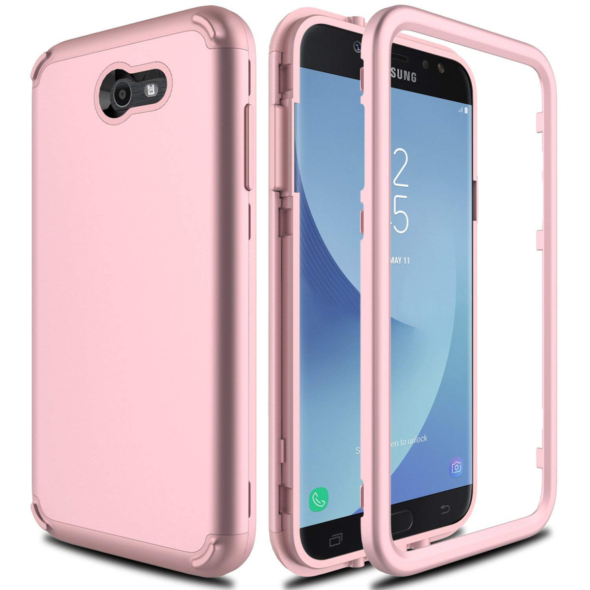 new styles 3ffc6 24308 Samsung Galaxy J7 Prime Case, Galaxy J7 V Case, J7 Perx/J7 Sky Pro/Galaxy  Halo AMENQ 3 in 1 Heavy Duty Absorb Impact Silicone Rubber Smooth PC ...