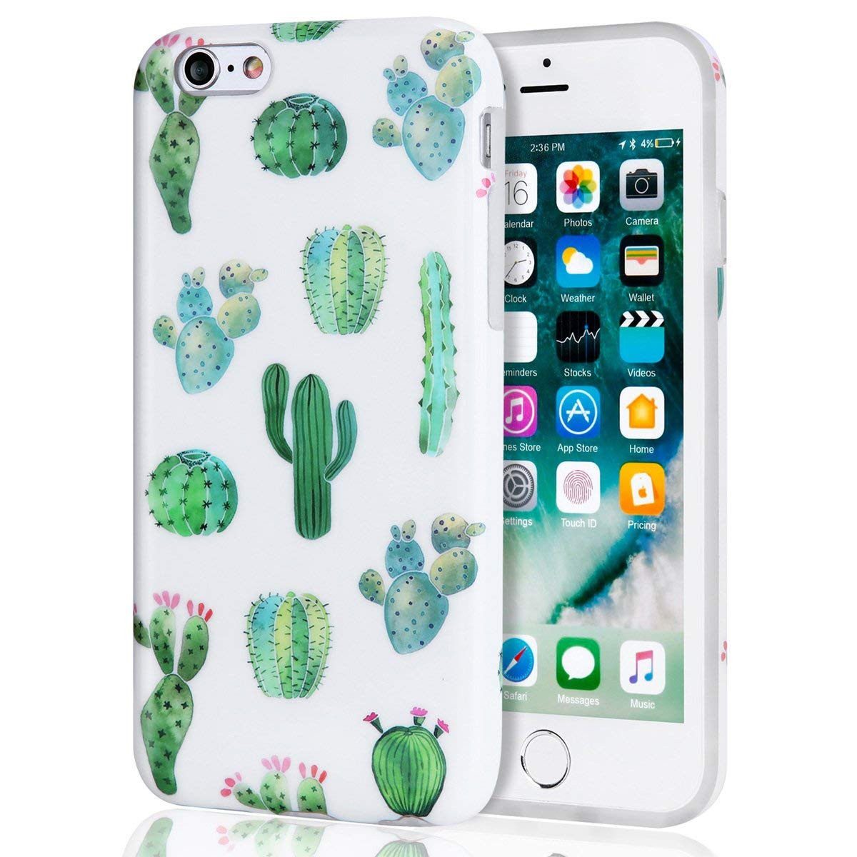 los angeles ed841 5a6a5 iPhone 6s Plus Case, Cactus iPhone 6 Plus Case for Girls, Women Best  Protective Cute Clear Slim Glossy TPU Soft Rubber Silicone White Green  Cover ...