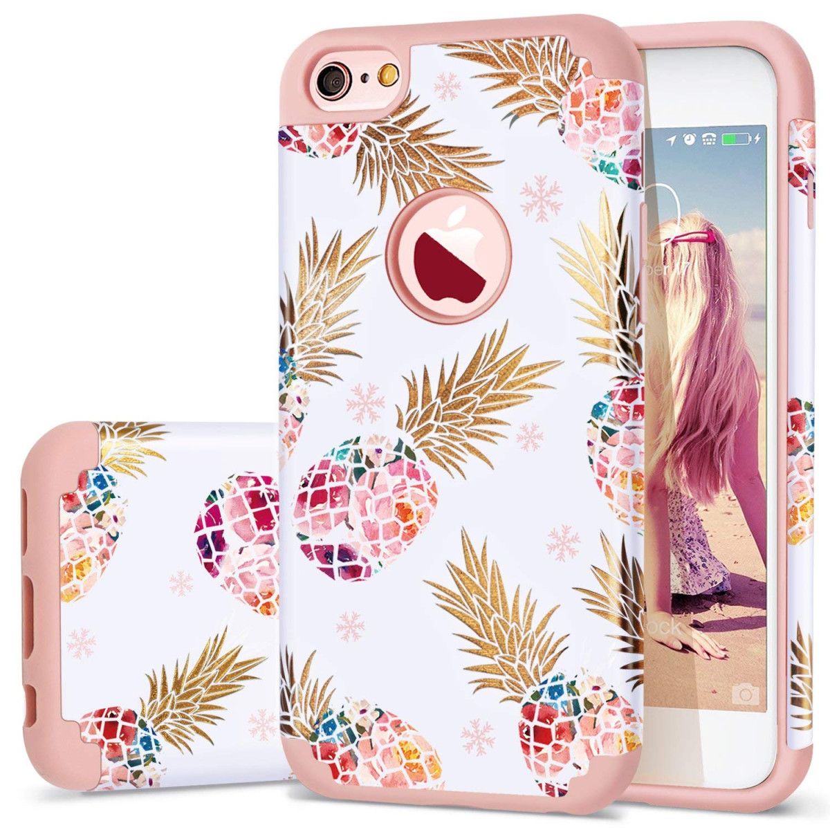 f649cb5a9f86 iPhone 6 Case,iPhone 6S Case Pineapple,Fingic Slim Floral Pineapple Design  Case Anti-ScratchandSlip Cover Hard PC ...