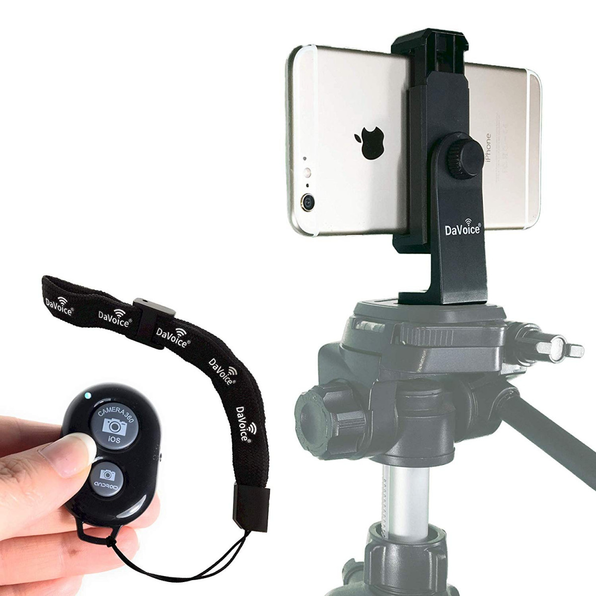 DaVoice Phone Tripod Mount + Bluetooth Remote Control Compatible with  iPhone X XS Max XR 8 8 Plus 7 7 Plus 6 6 Plus 6S 6S Plus 5 - Samsung Galaxy  S9