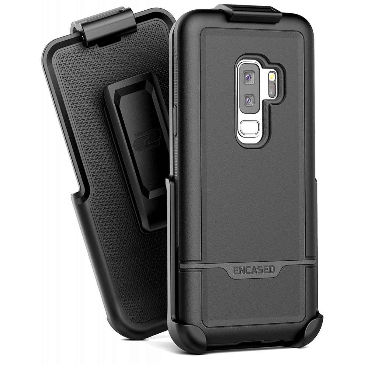 low priced e393e 822b1 Encased Galaxy S9 Plus Heavy Duty Case + Belt Clip, (Rebel Series) Military  Grade Tough Case with Reinforced Holster (S9+) (Black)