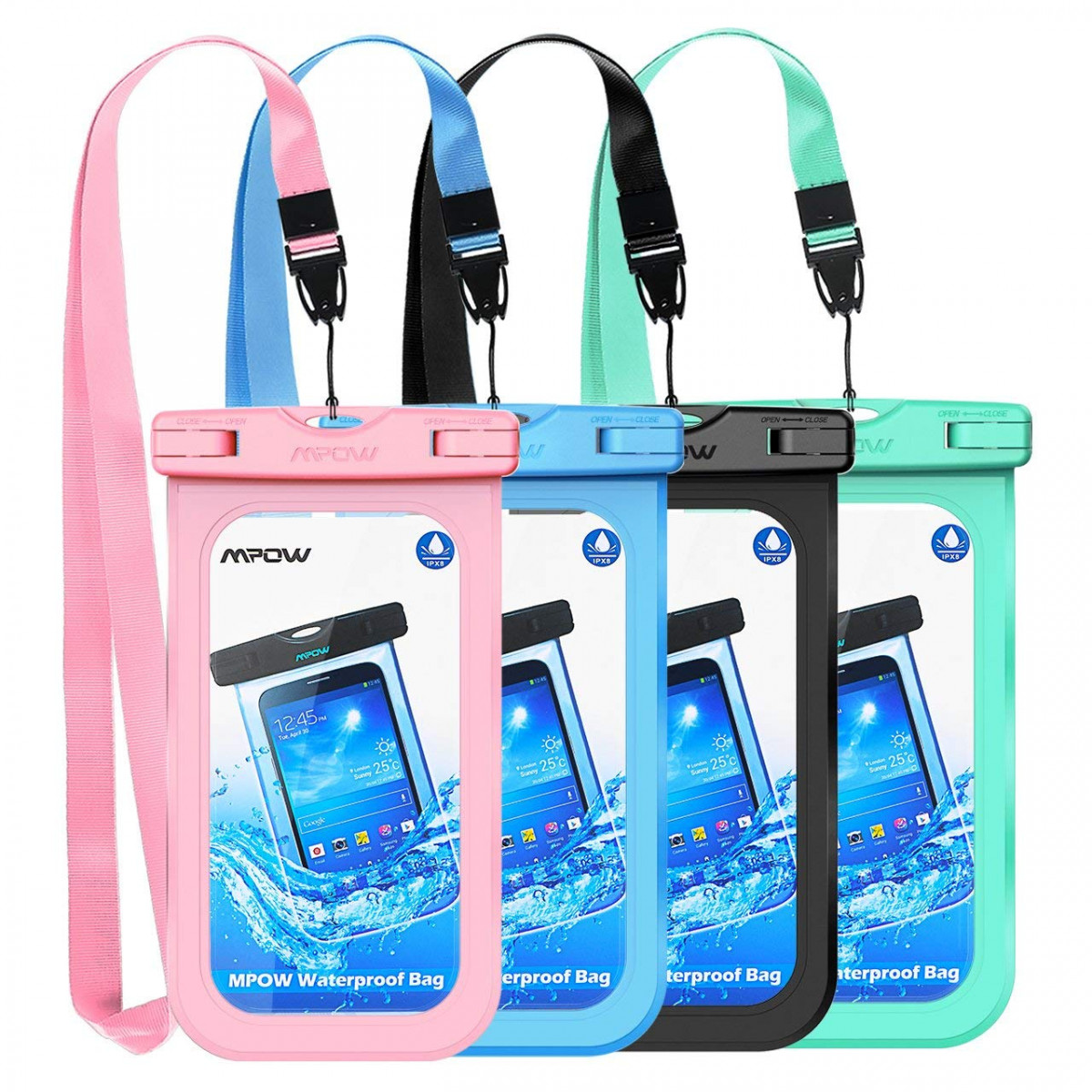 the latest d4d9c e933e Mpow Waterproof Case, Universal IPX8 Waterproof Phone Pouch Underwater  Phone Case Bag for iPhone X/8/8P/7/7P, Samsung Galaxy S9/S9P/S8/Note 8,  Google ...