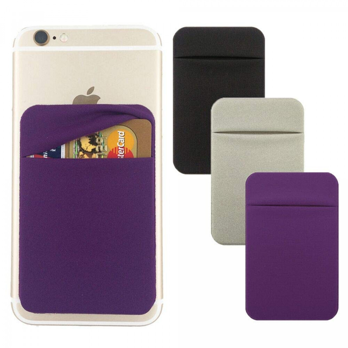 hot sale online 81b98 e8e54 Cell Phone Card Holder[Double Secure With Pocket for ID/Credit Cards] for  Back of Phone,Stick On Card Wallet Sticker Stretchy Lycra Fabric for ...