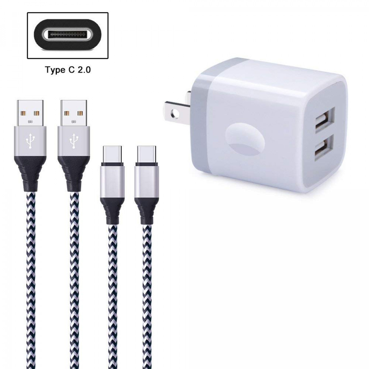 167af410ea0518 FiveBox 2Pack 6FT USB Type C Charger Cable Cord Compatible LG Stylo 4, LG  G6 G7 V35 V30S ThinQ ...