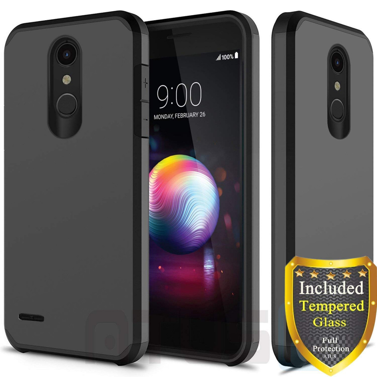 new styles c5bee f0d0f LG K30 Case, LG Harmony 2 Case, LG Phoenix Plus Case, LG Premier Pro Case,  LG K10 2018 Case, with Full Cover Tempered Glass Screen Protector, ATUS ...