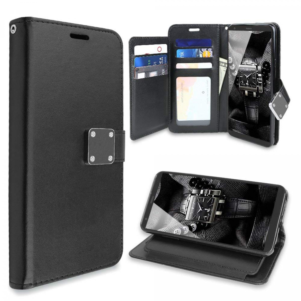 TJS LG Stylo 4 2018 / LG Stylo 4 Plus/LG Q Stylus Case, Hybrid PU Leather  Folding Folio Style Wallet 5 Card Slots to Hold Cards Stand Flip Pouch  Phone