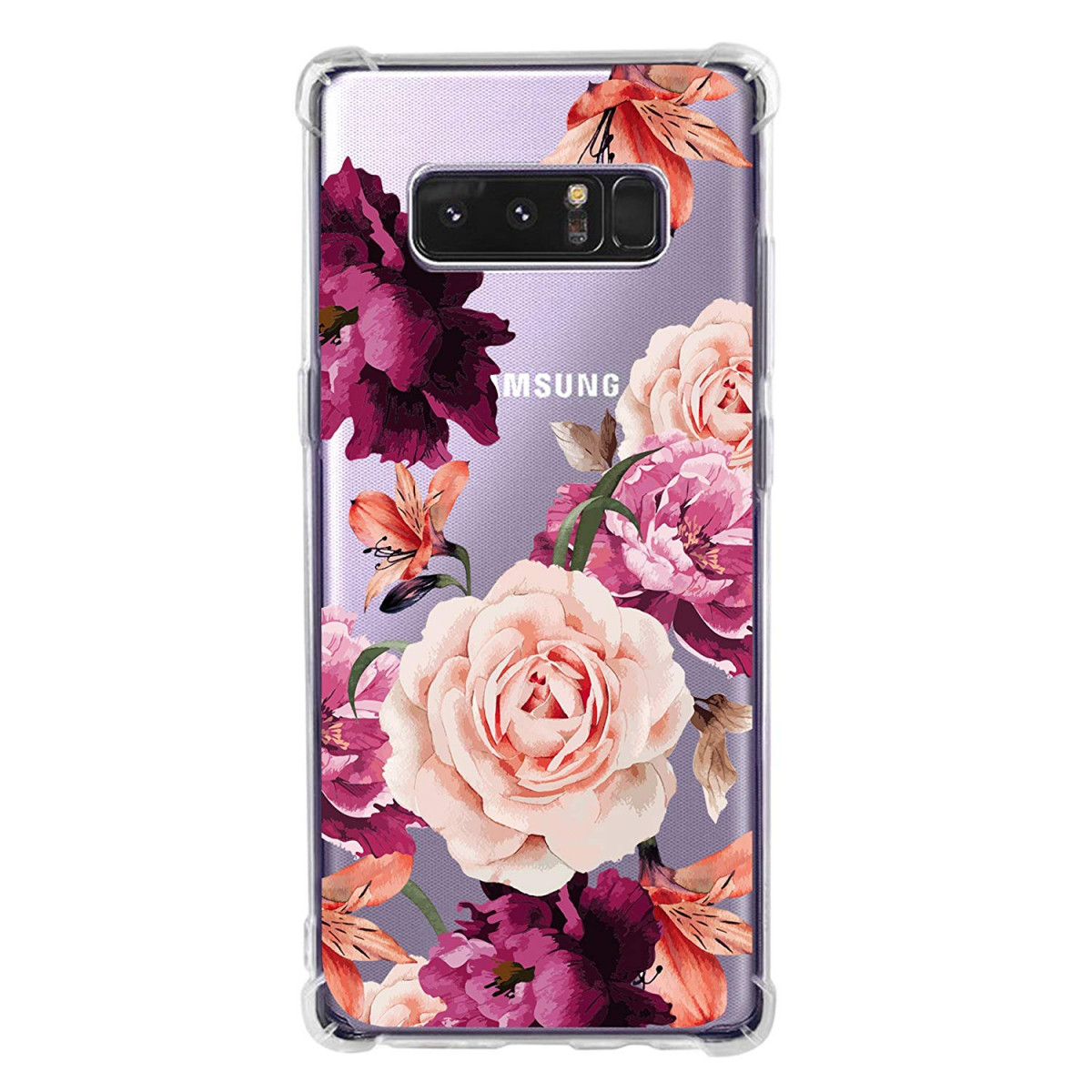 53ea48a6e91d Galaxy Note 8 Case for Women Clear with Cute Flowers Design Shockproof  Protective Case for Samsung ...