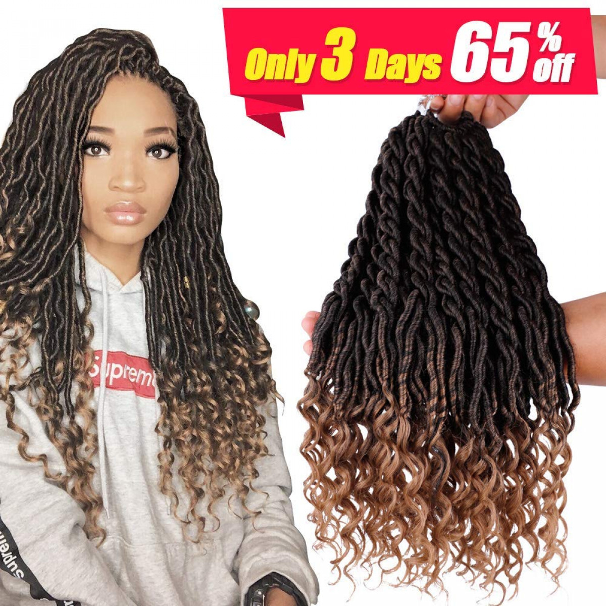 6Packs/Lot Wavy Faux Locs Braids 20Inch Ombre Faux Locs Crochet Hair with  Curly Ends Goddess Crochet Synthetic Braiding Extensions(T1B,27)