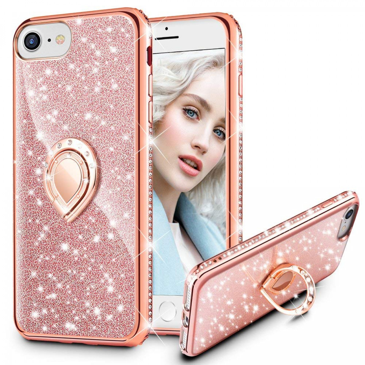 Maxdara Case For Iphone 8iphone 7 Glitter Case Shiny Bling Diamond Rhinestone Kickstand Ring Grip Holder Ultra Thin Pretty Girls Women Case Cover For
