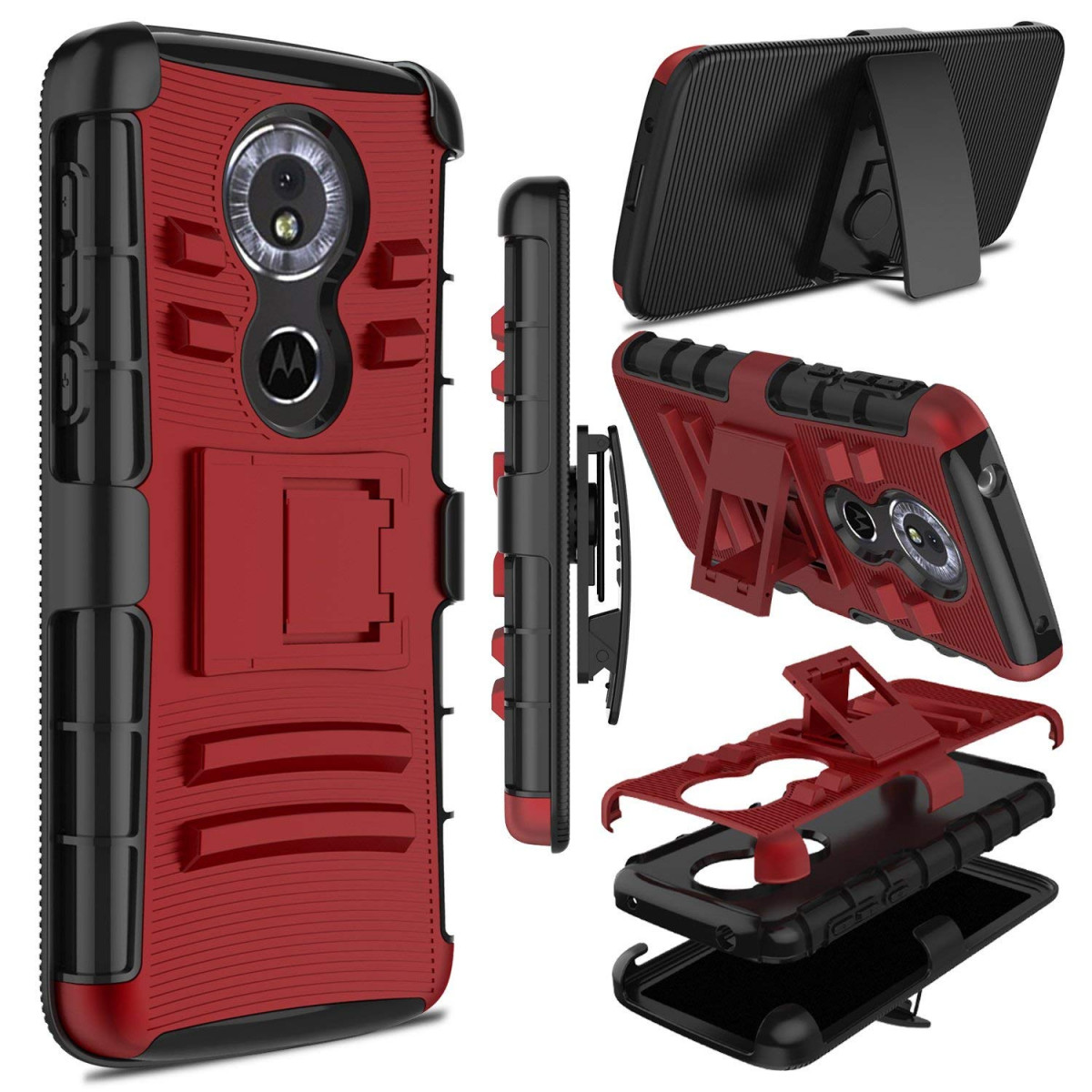 separation shoes 64138 9860b Moto G6 Play Case, Moto E5 Case, Zenic Heavy Duty Shockproof Full-Body  Protective Hybrid Case Cover Swivel Belt Clip Kickstand Motorola Moto G6  Play ...