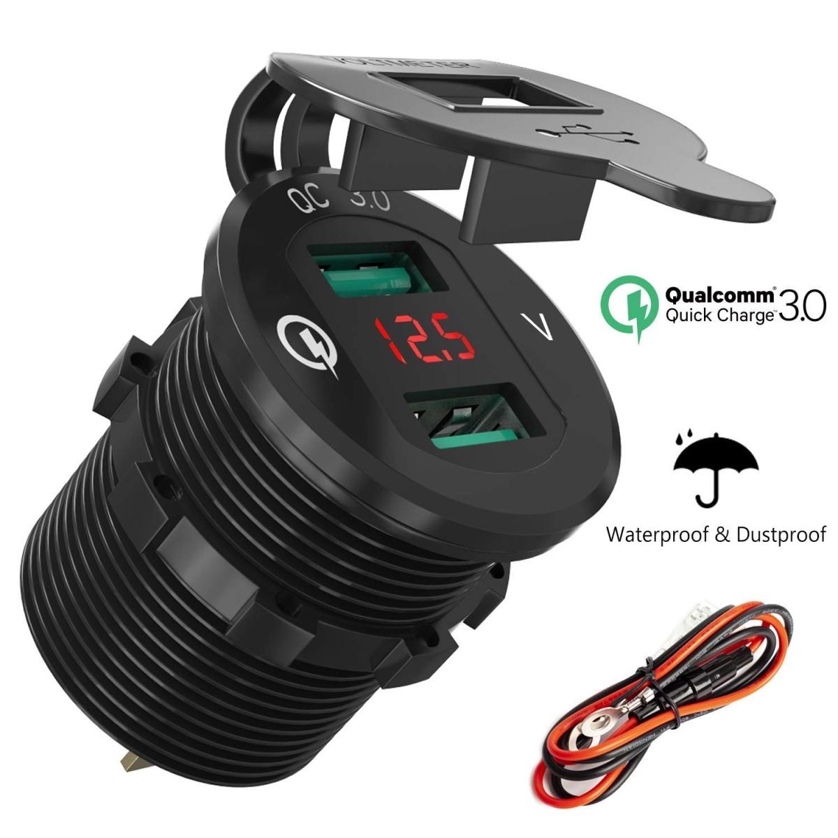 Weatherproof Motorcycle ATV  RV Accessory Lighter Socket 12 V Volt Power Outlet