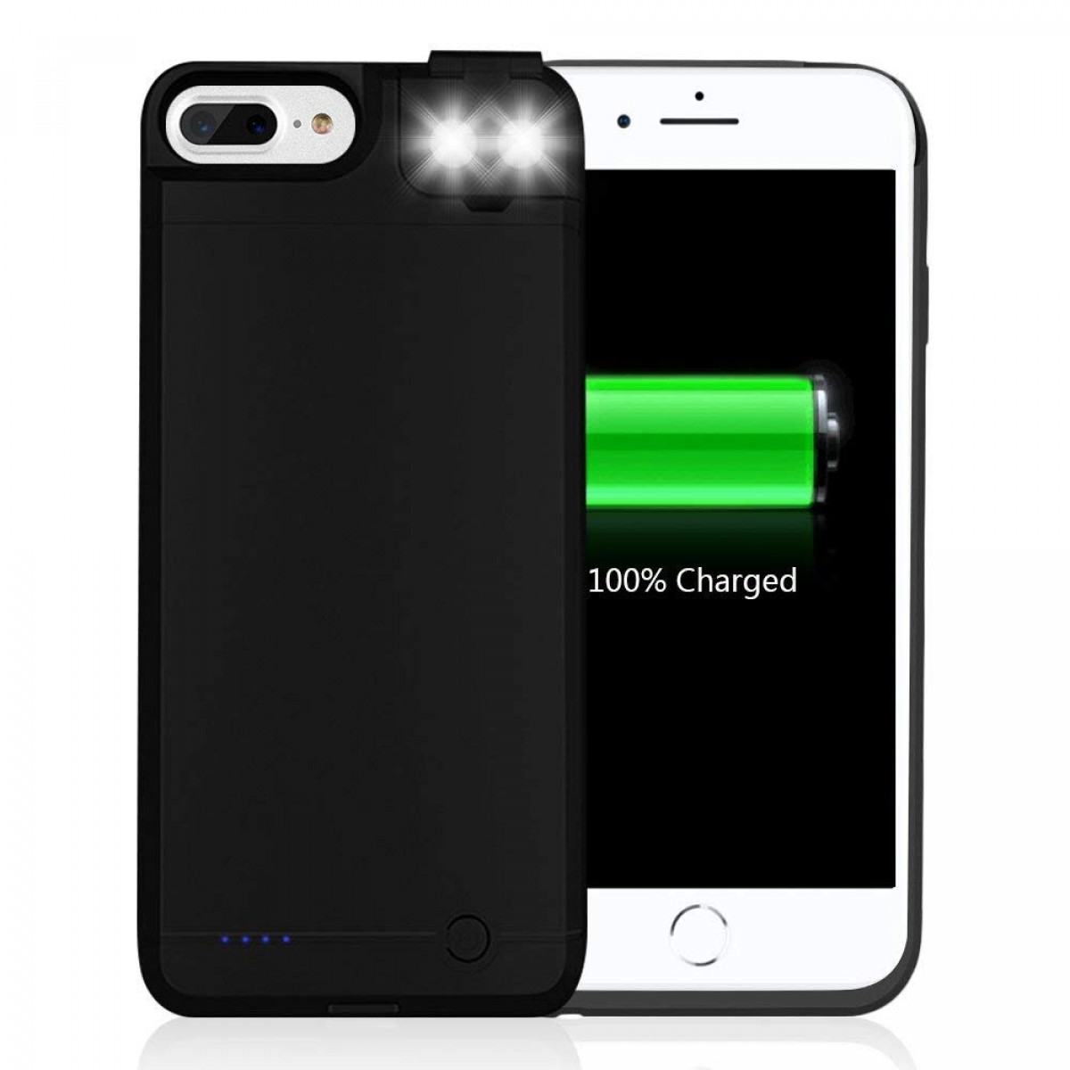 huge discount 63093 fcc8d Battery Charging Case for iPhone 7 Plus 6 Plus, LUXMO 6000mAh Slim Portable  charger Case with Selfie LED Fill Light [Support Fast Charge] Backup ...