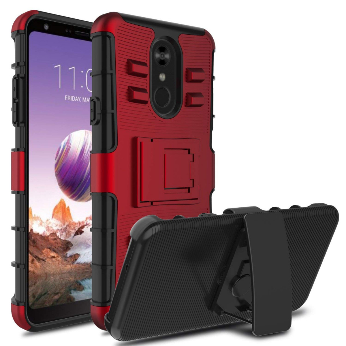 sports shoes 79931 8ee44 Innens Compatible LG Stylo 4 Case, LG Q Stylus Case, Shockproof Hybrid  Heavy Duty Armor Defender Protective Holster Case Cover with Kickstand Belt  ...