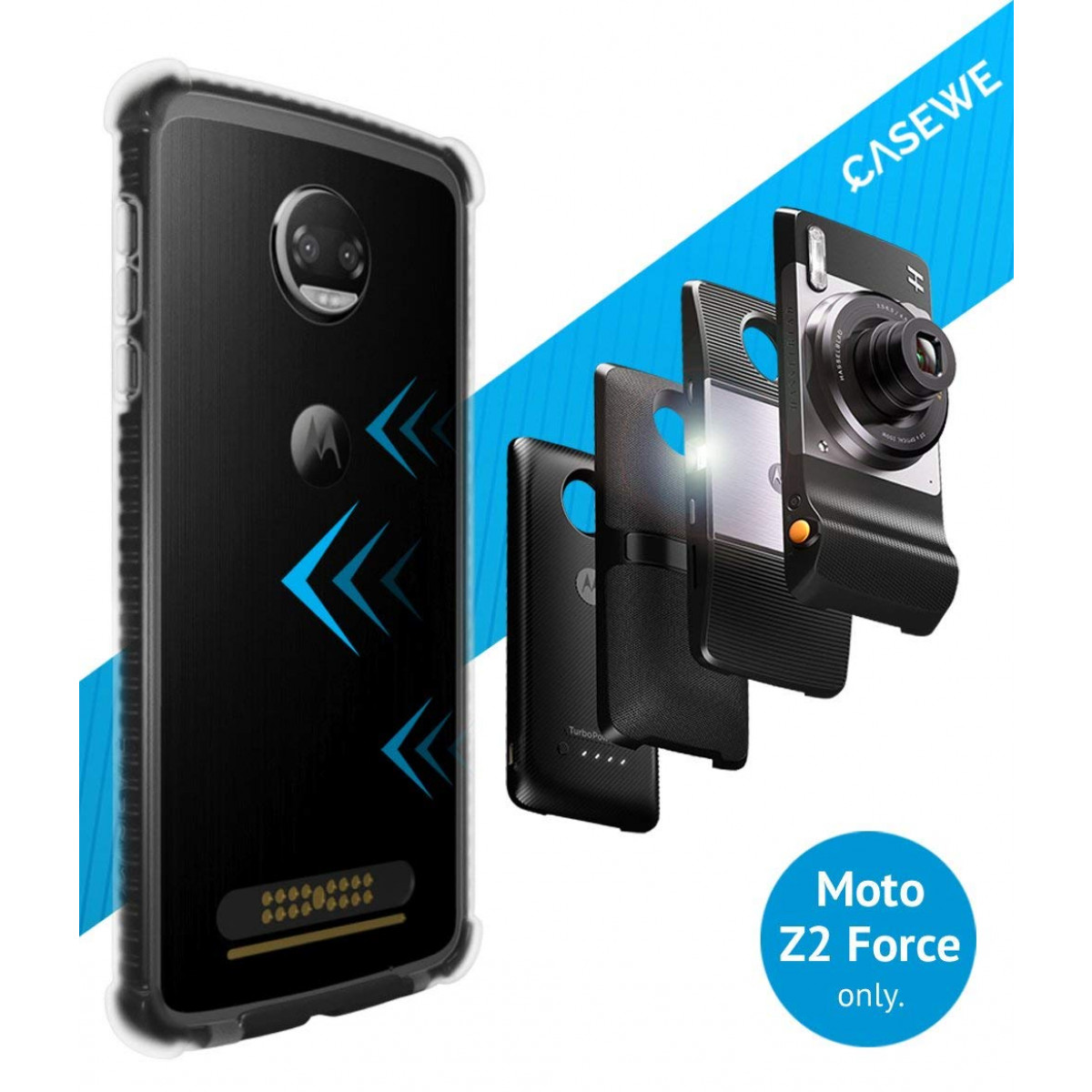 quality design 0ccda 0cba9 CaseWe - Motorola Moto Z2 Force Protective Bumper Case Cover/Compatible  with Moto Mods - Clear and Matte Black