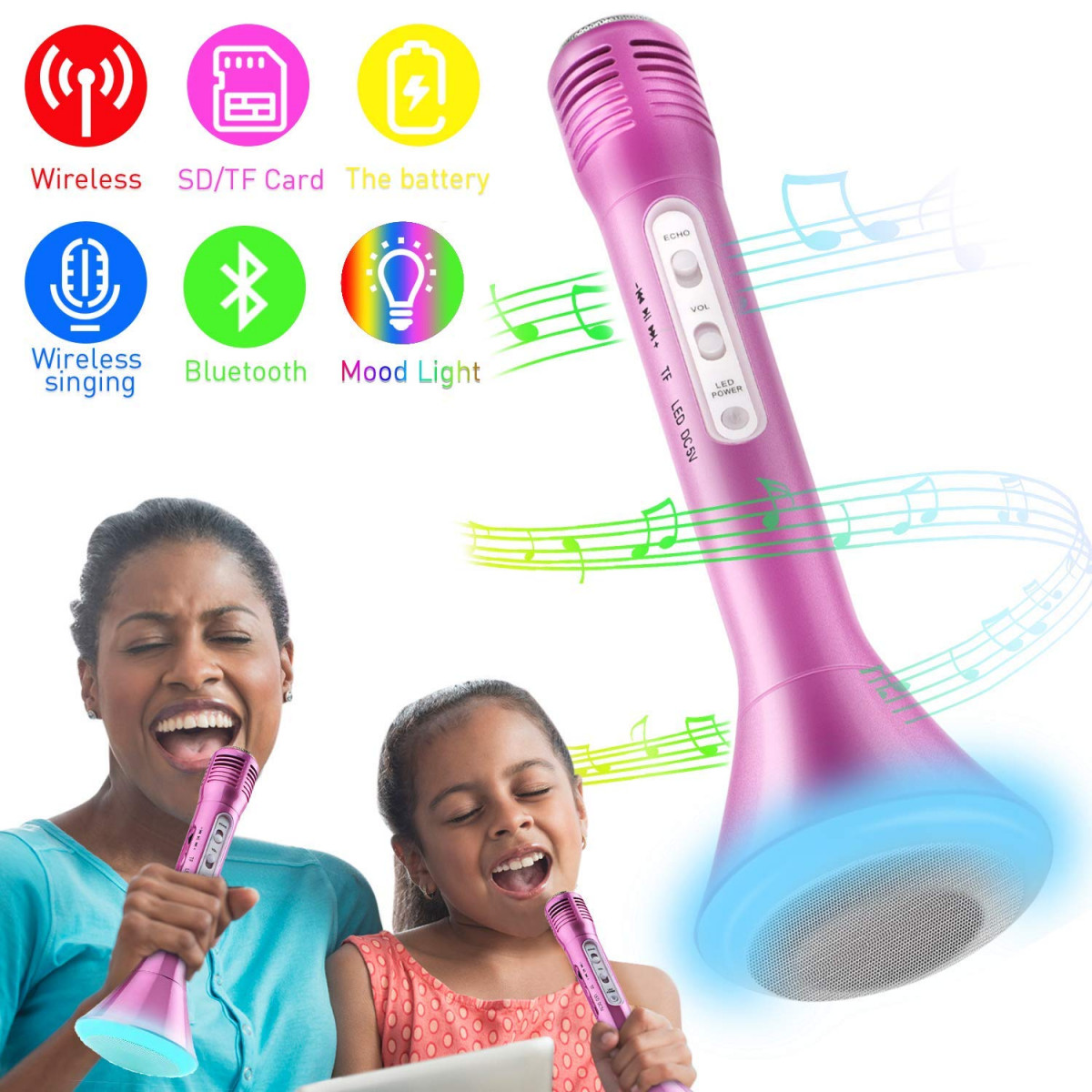 Speakers Portable Wireless Karaoke Microphone With Bluetooth Speaker Ktv Party Home Singing Musical Toy For Children Best Gift For Kids
