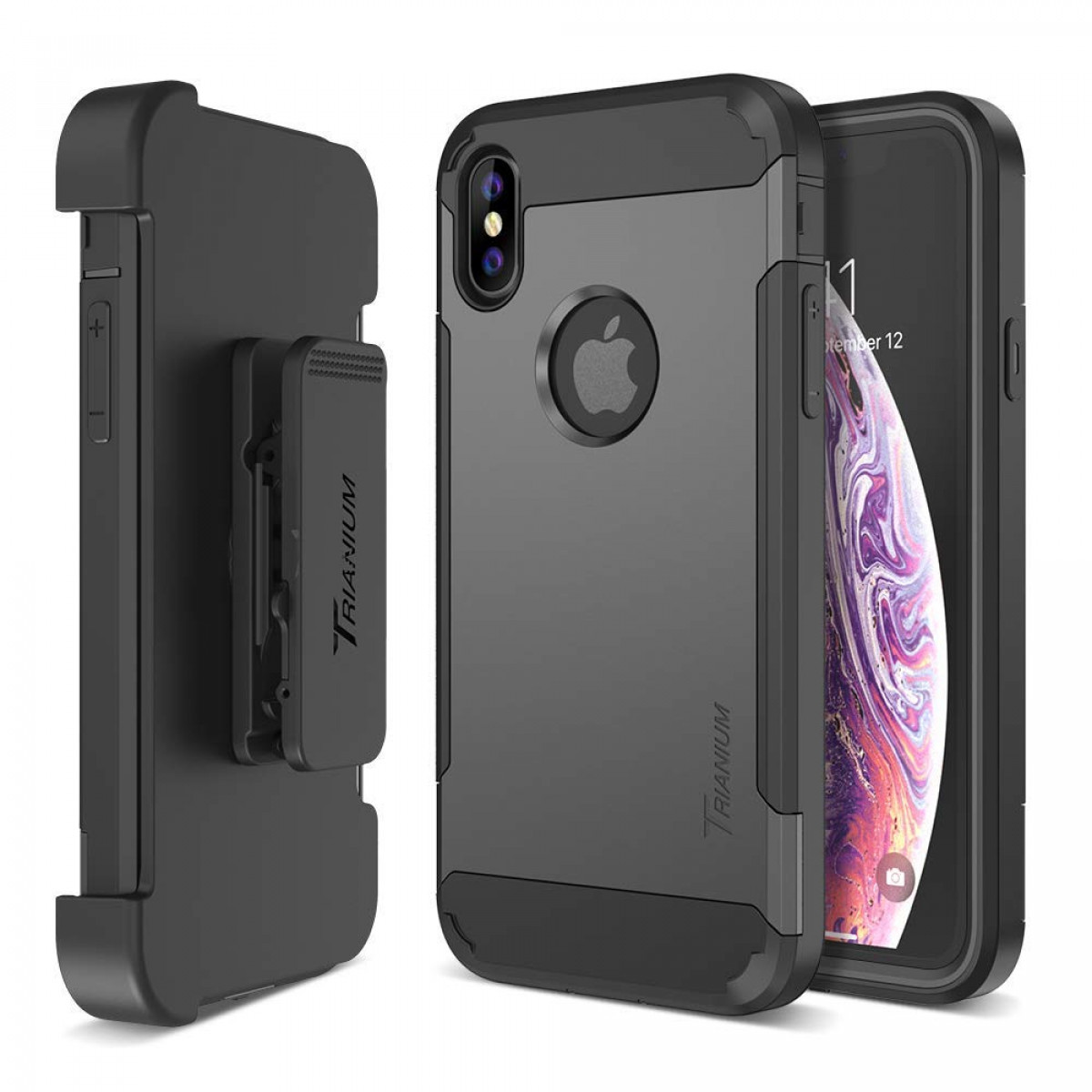 newest fe108 2b1f2 Trianium Holster Case [Duranium Series] Designed for iPhone Xs Max  w/Rotating Belt Clip + Kickstand [Heavy Duty Protection] Scratch  Resistant/Shock ...