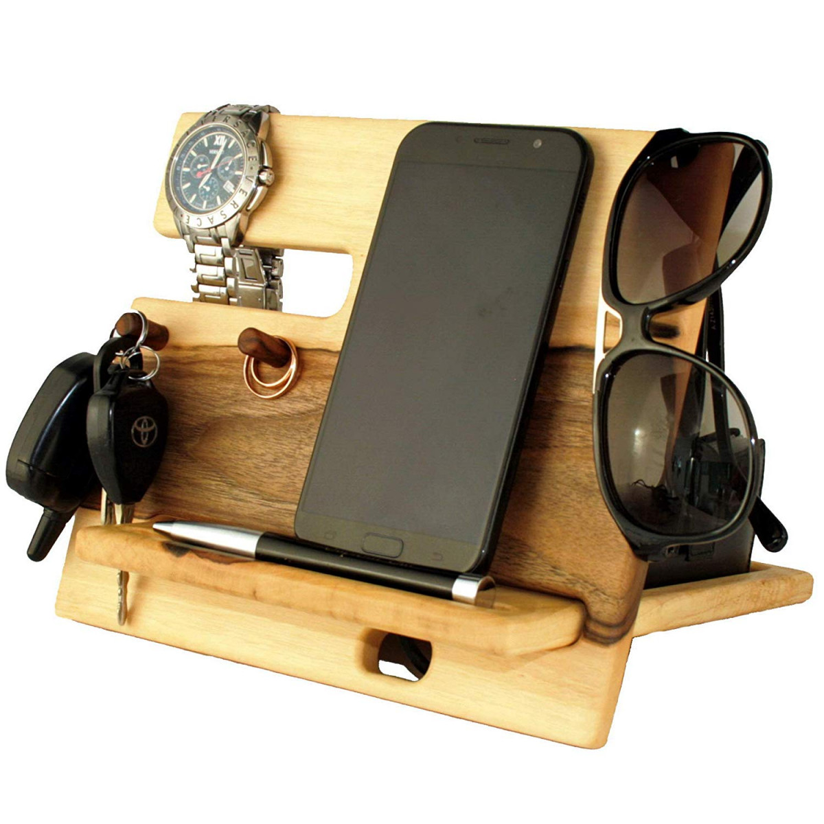 Walnut Light Wood Cell Phone Stand Nightstand Charging Dock Watches Holder Mens Wooden Bed Side Valet Tray Organizer Desk Docking Station Smart