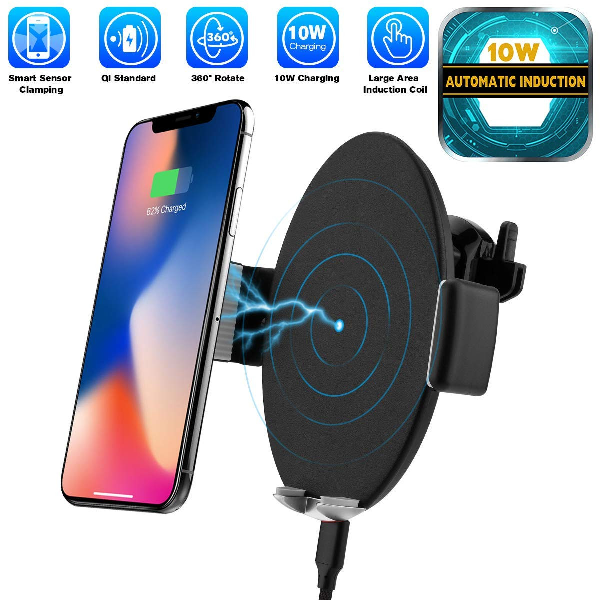 Automatic Sensor Wireless Charger Car Mount, Smart