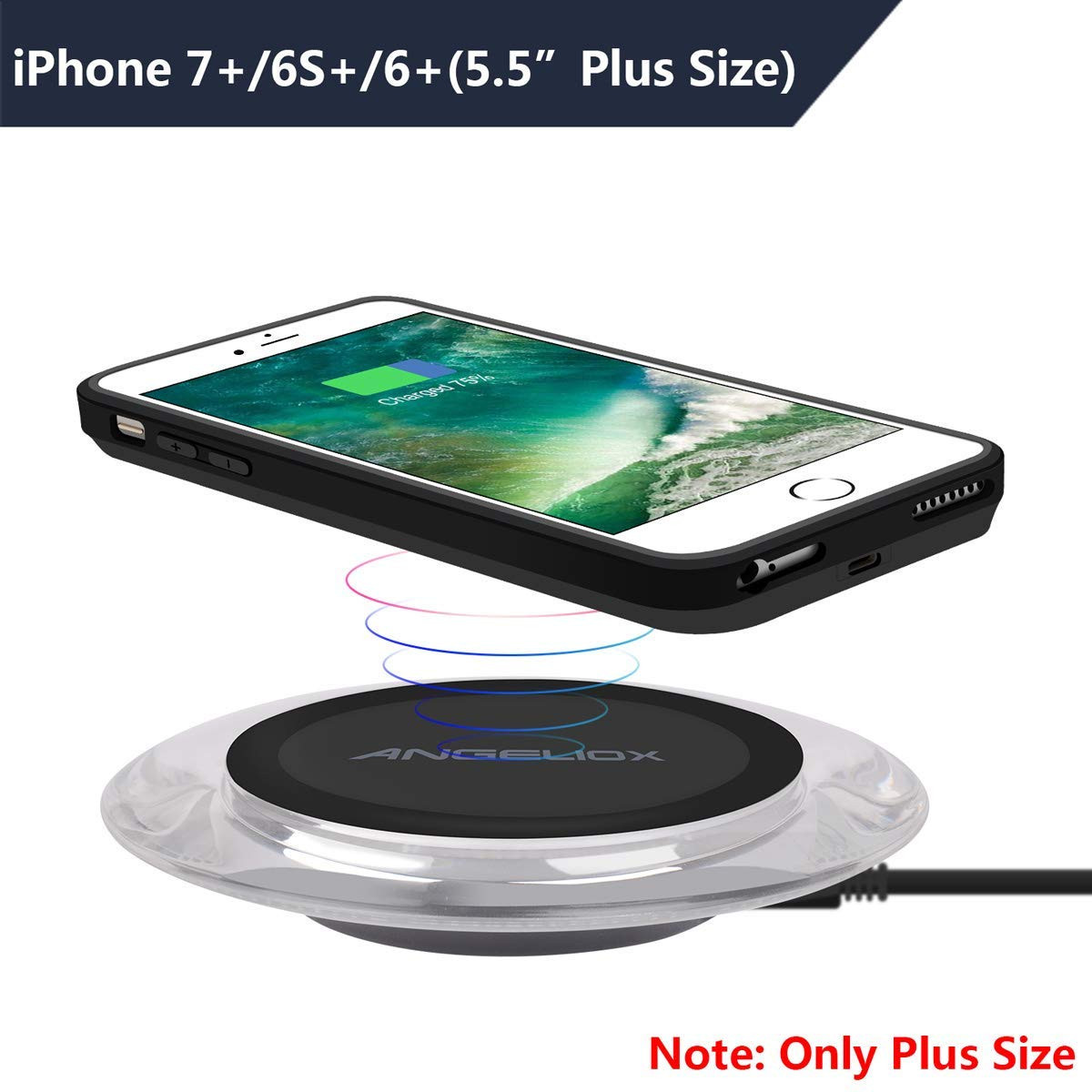 on sale b70e5 332dc ANGELIOX Wireless Charger with Qi Wireless Charging Receiver Case for  iPhone 7 Plus/6S Plus/6 Plus(Plus Size Only),Qi Wireless Charging Pad  Compatible ...