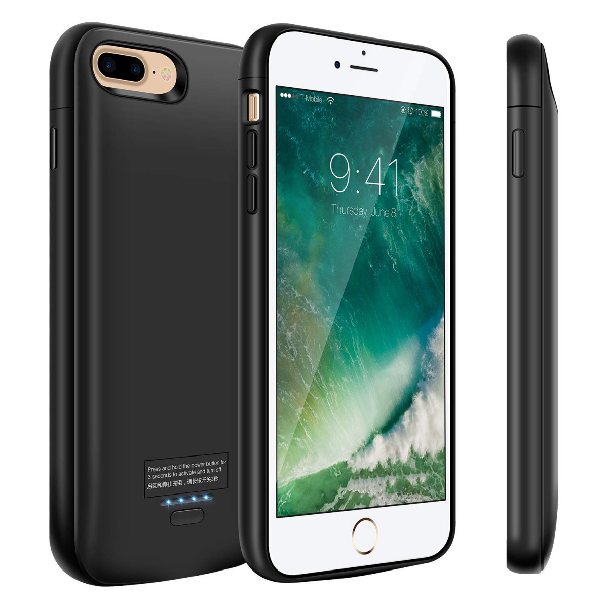 separation shoes 3a521 fb211 iPhone 8 Plus/7 Plus Battery Case, 5500mAh Slim Portable Battery Charger  Case, Rechargeable Extended Battery Pack Charging Case for iPhone 8 Plus/7  ...