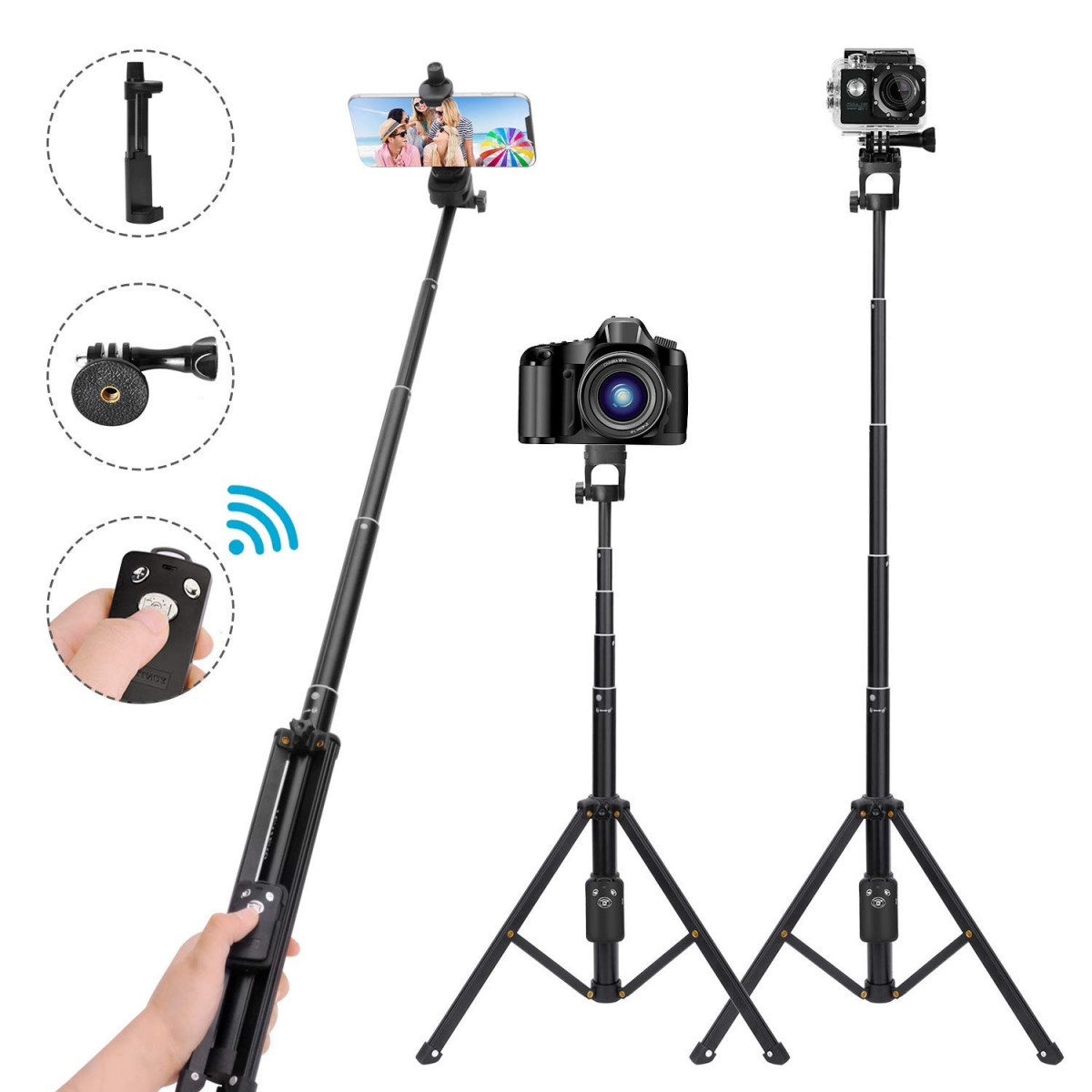 innovative design b39a4 43f7b Selfie Stick Tripod,54 Inch Extendable Camera Tripod for  Cellphone,Bluetooth Remote for Apple and Android Devices,Suitable for  iPhone 6 7 8 X ...