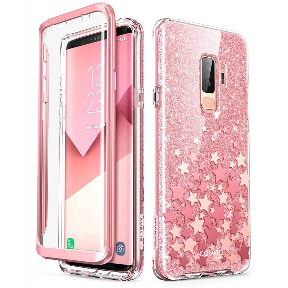 newest 6c67d 03e6e Samsung Galaxy S9 Plus Case, [Built-in Screen Protector] i-Blason [Cosmo]  Full-Body Glitter Clear Bumper Case for Galaxy S9 Plus (2018 Release) (Pink)