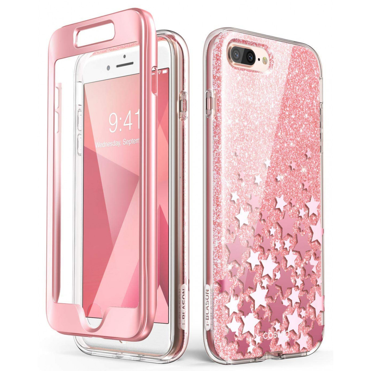 new product 24d85 aa209 iPhone 8 Plus Case,iPhone 7 Plus Case, [Built-in Screen Protector] i-Blason  [Cosmo] Glitter Clear Bumper Case for iPhone 8 Plus and iPhone 7 Plus