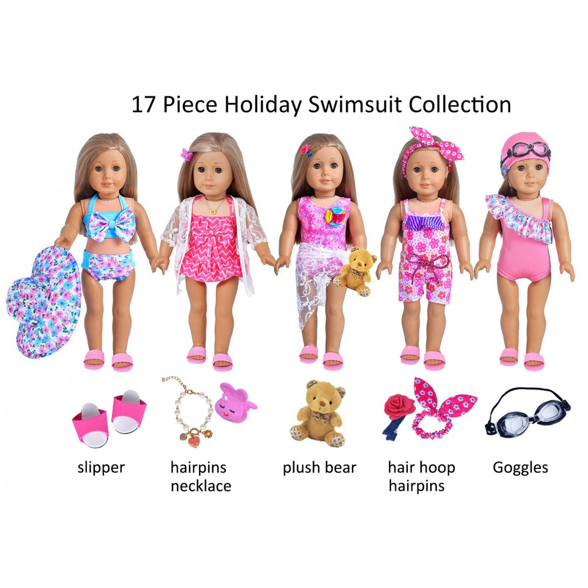 50c63d95633 Ebuddy 17 Piece Hawaii Holiday Doll Swim Accessories-18 inch Doll Clothes  Accessories Set Fits American Girl, Our Generation, Journey Girls