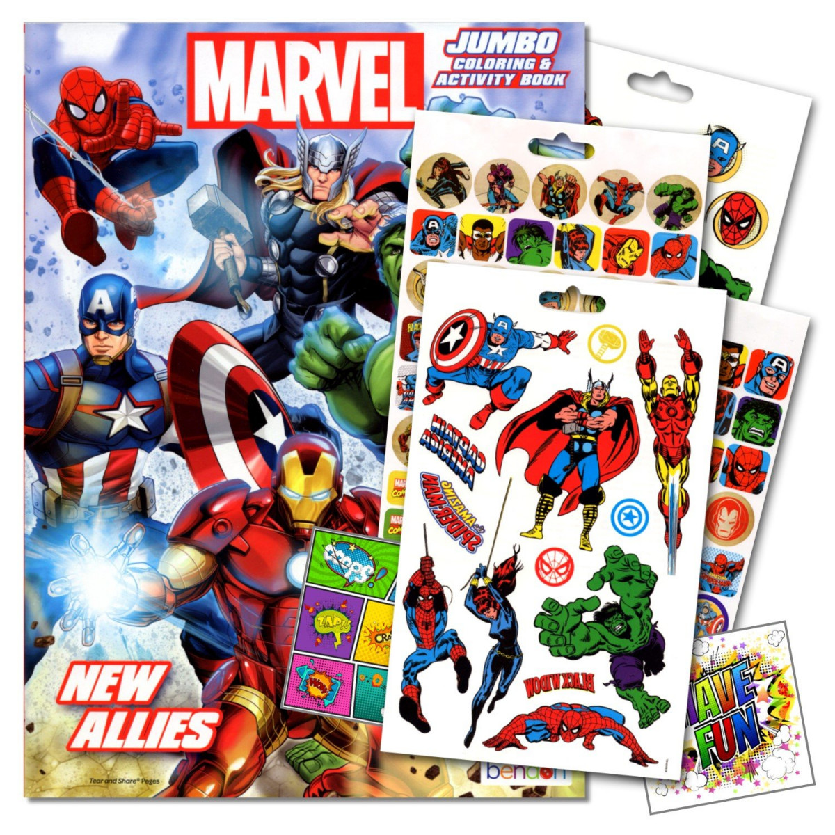 Marvel Comics Heroes Coloring Book With Stickers and Tattoos Set Bundled  with 2 Specialty Separately Licensed GWW Reward Stickers
