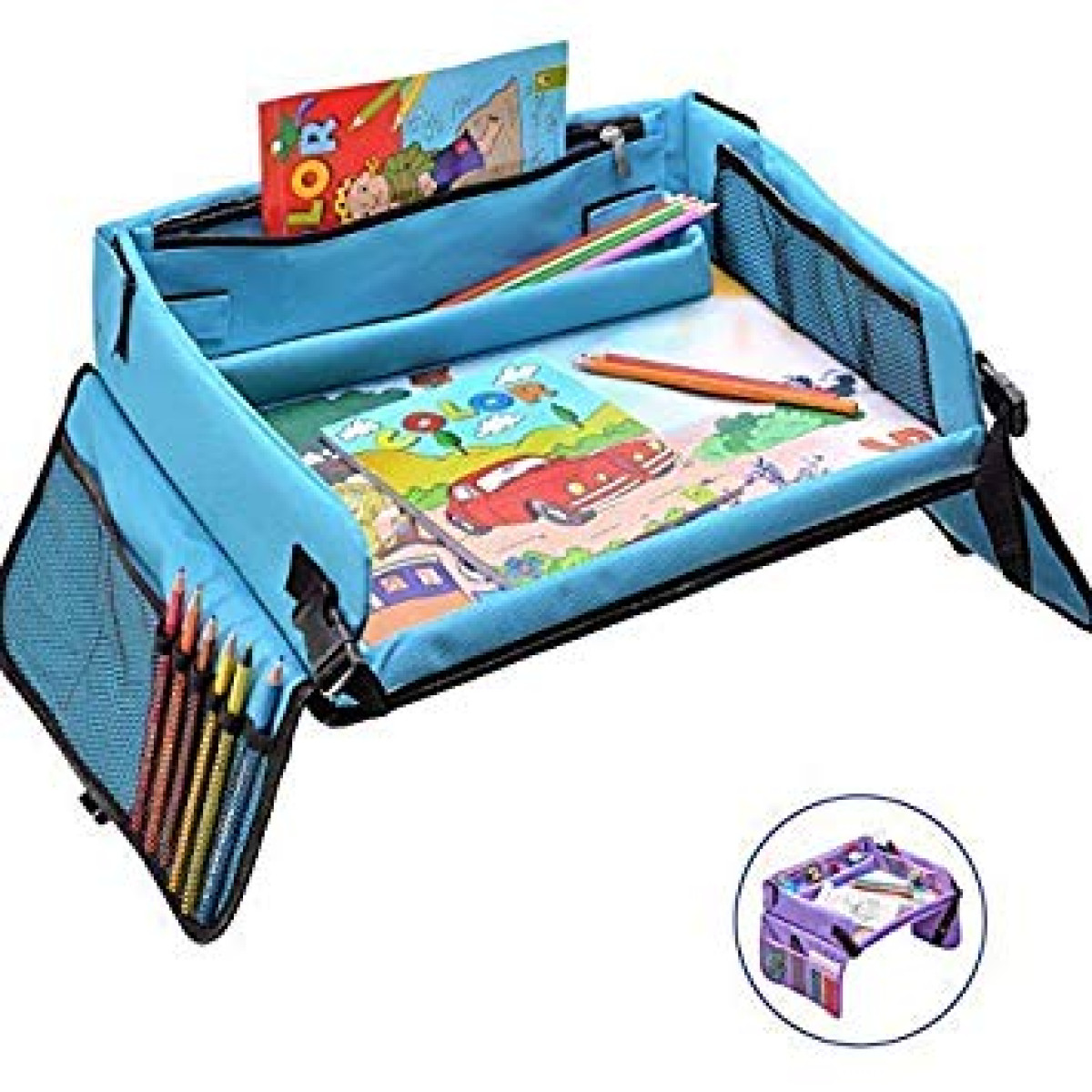 Activity Kids Travel Play Tray Snack Tray /& Organizer for Car Seat