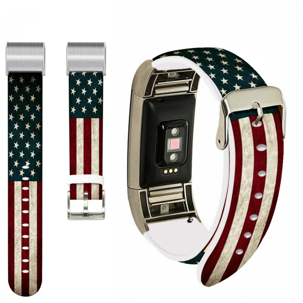 for Fitbit Charge 2 Strap Women,Ecute Replacement Band for Fitbit Charge 2  Leather Bands Strap with Metal Connectors- American Flag