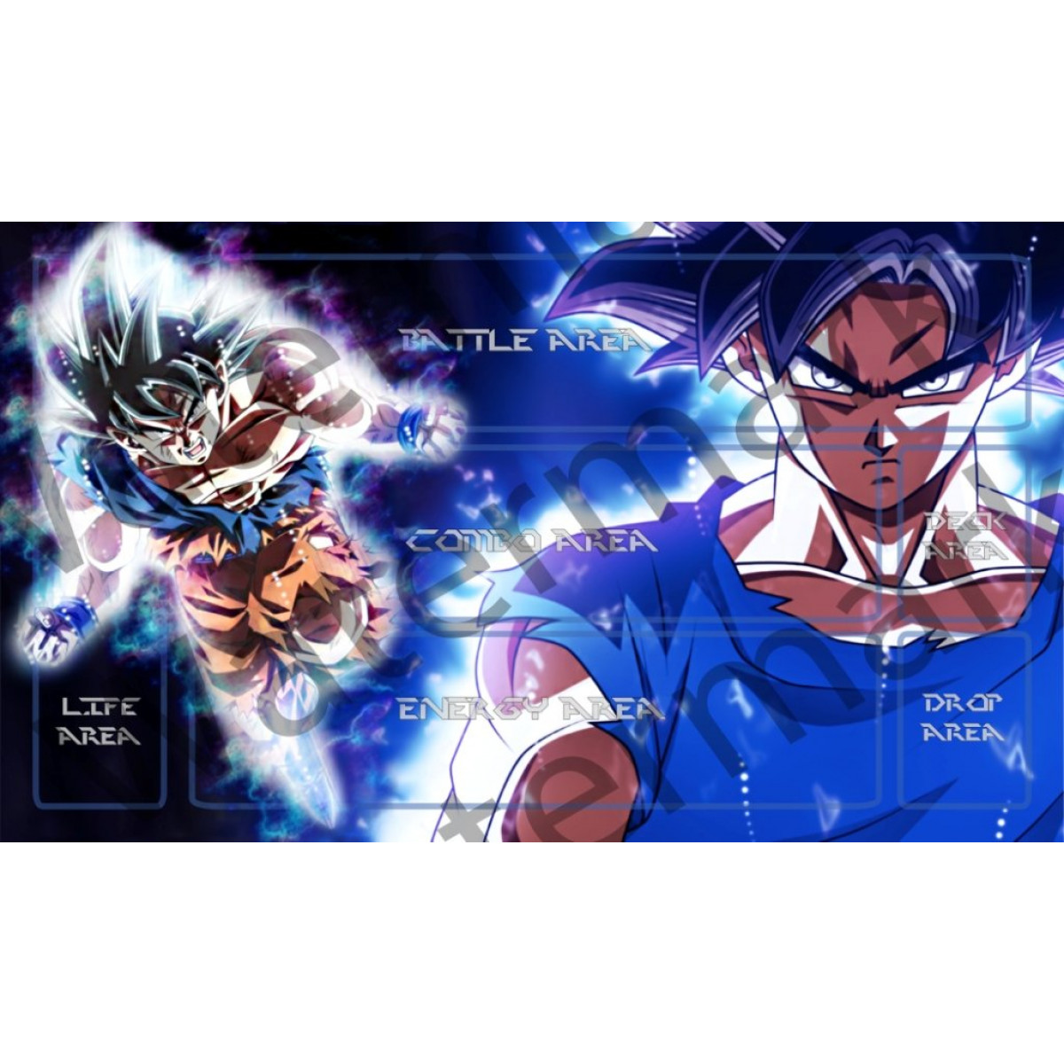 Masters of trade Goku blue Dragonball super Z DBZ TCG playmat gamemat 24 wide 14 tall for trading card game smooth cloth surface rubber base