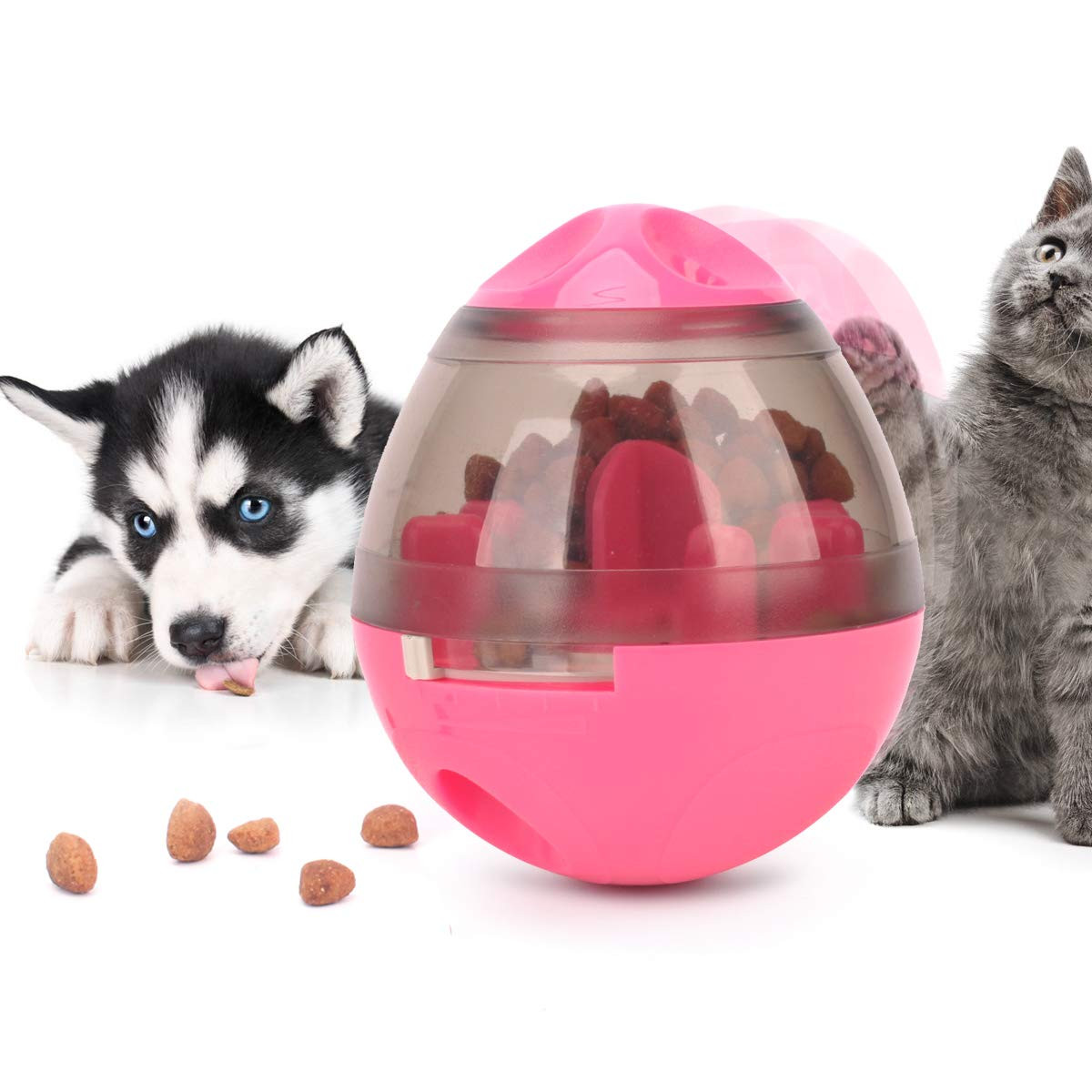 Noyal Dog Food Dispenser Ball Toy, Fun and Interactive Roly Poly Toy Ball for Small and Medium Dogs Cats Increase Attention, Tumbler Design Easy to