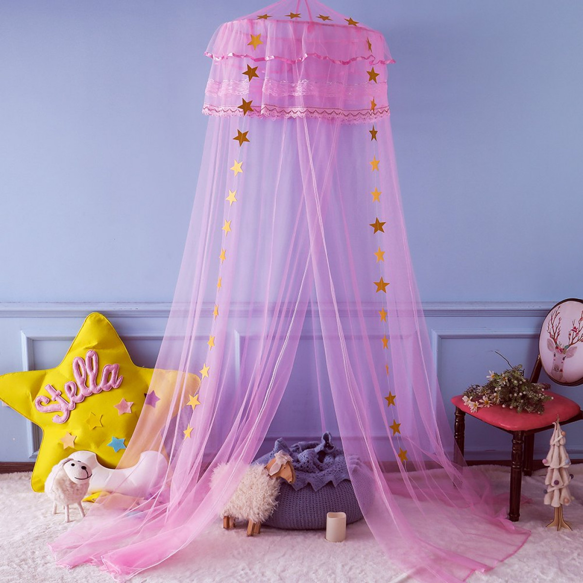 - Twinkle Star Kids Mosquito Netting Princess Bed Canopy 3 Layers