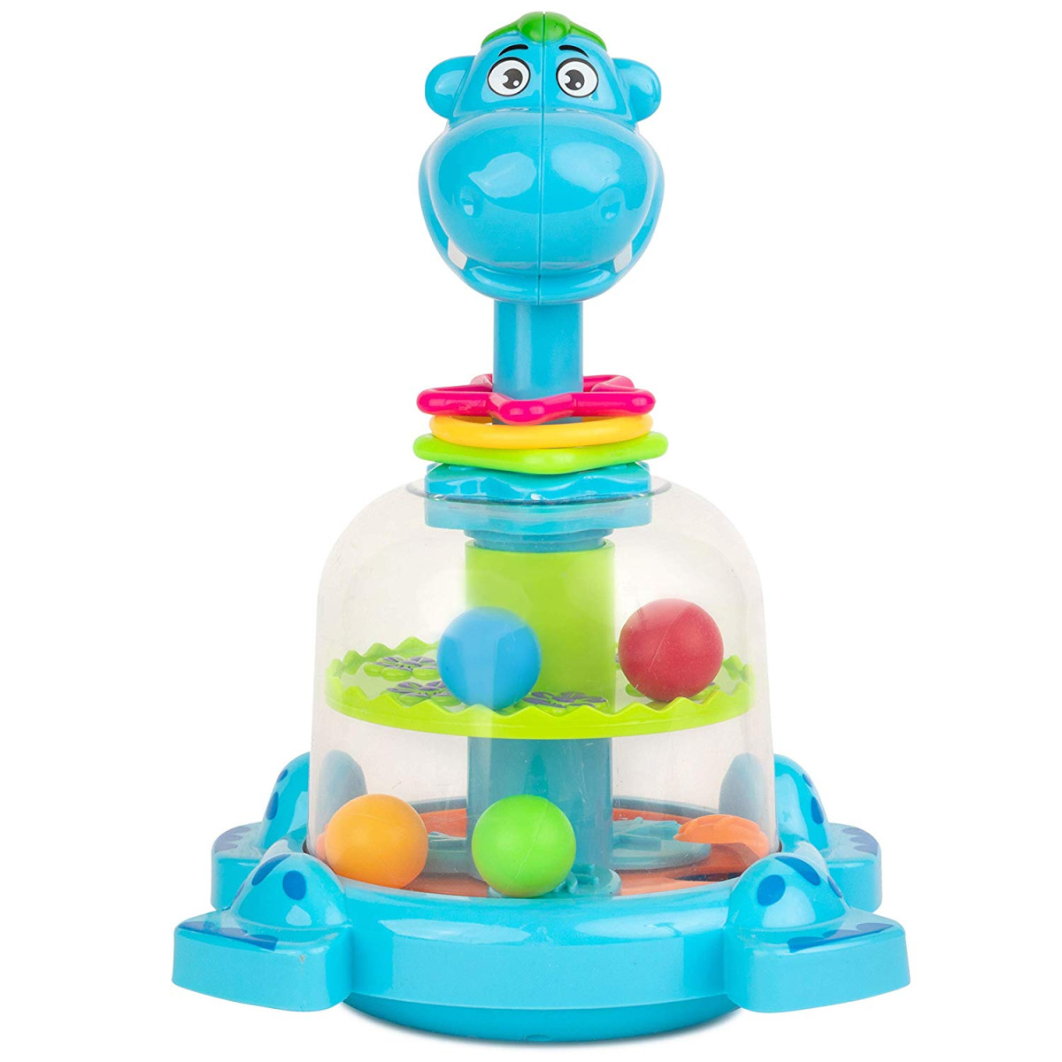 Toy To Enjoy Push and Spin Hippo Toy Easy Press Button Ideal for Fine Motor Skill Development and Learning Activity Great for Infants Toddlers 12