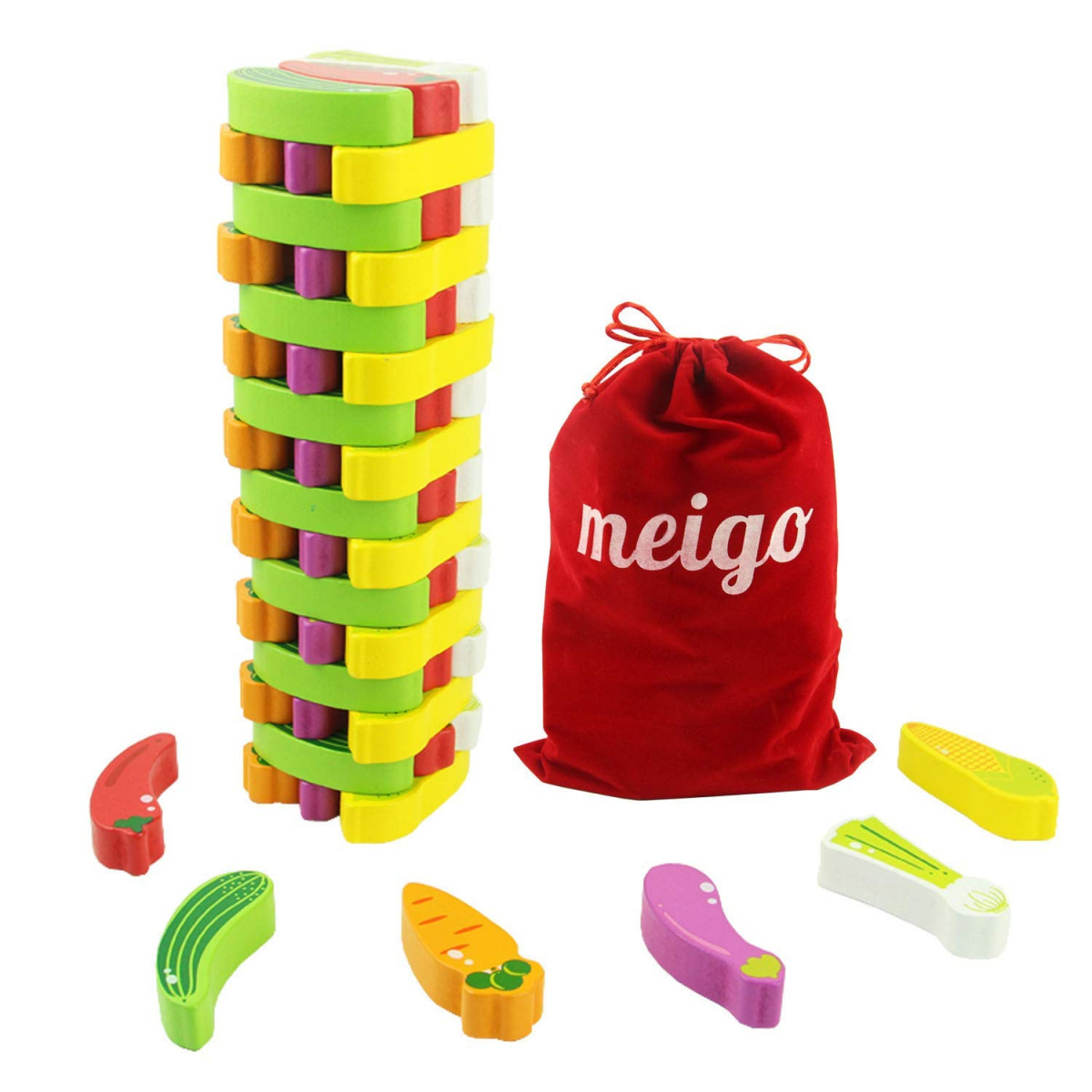 meigo wooden toys toddler wooden educational stacking board games building  blocks for kids 3 4 5 6 year old boys girls (55pcs)