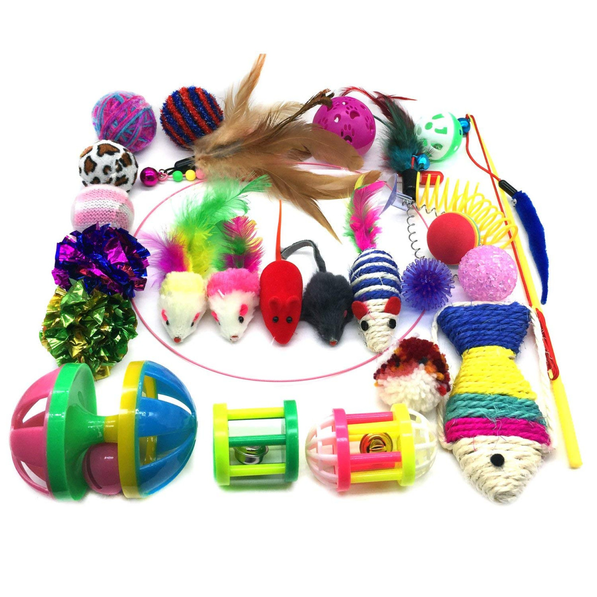 Crinkle Rainbow Balls Bells Toys for Puppy Kitty Interactive Feather Teaser Pietypet Cat Toys Kitten Catnip Toys Assorted Variety Catnip Toy Set Tumble Cage Mice 2 Way Tunnel Fluffy Mouse