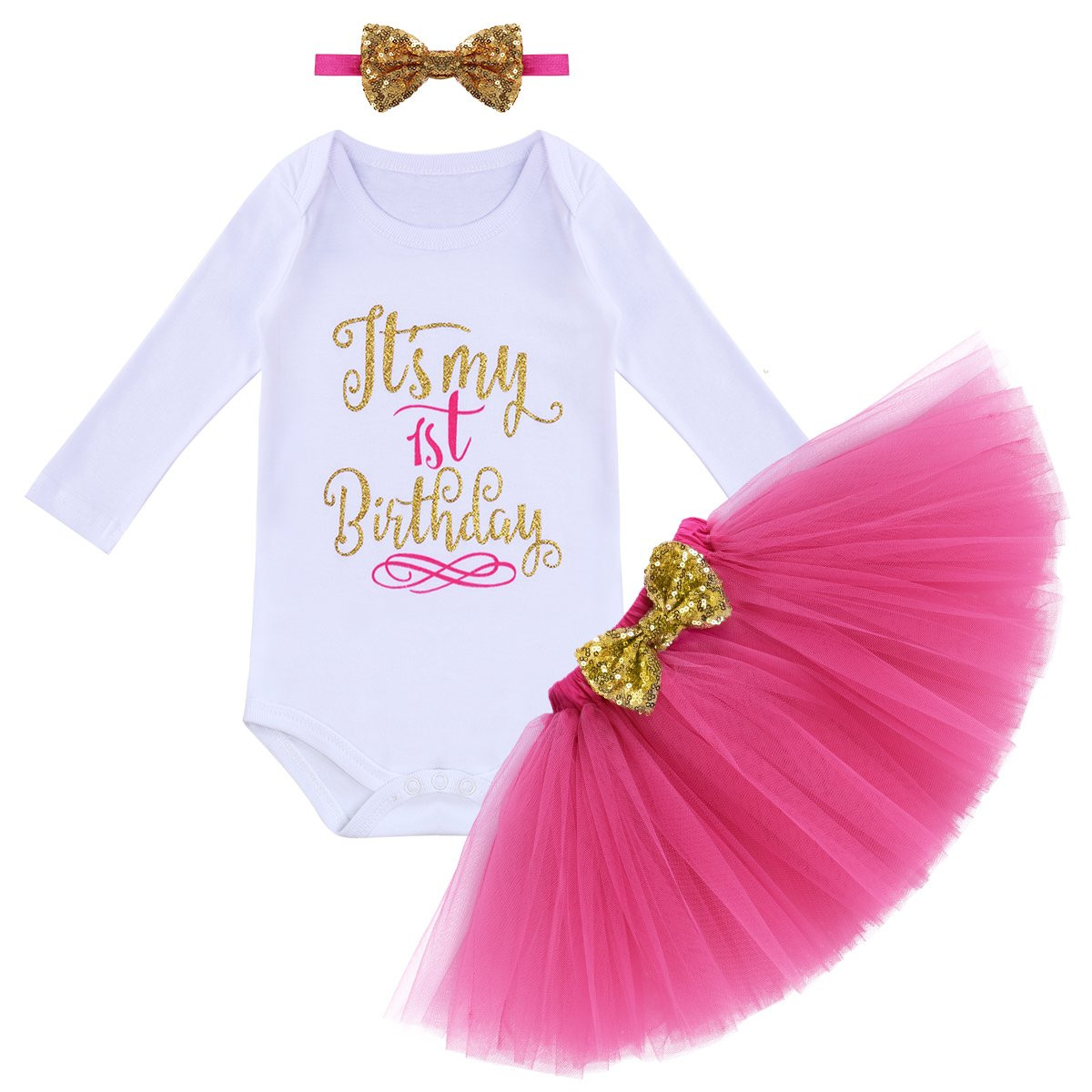 Infant Baby Girls Crown 1st Birthday Outfit Romper Jumpsuit Tulle Skirt Clothes