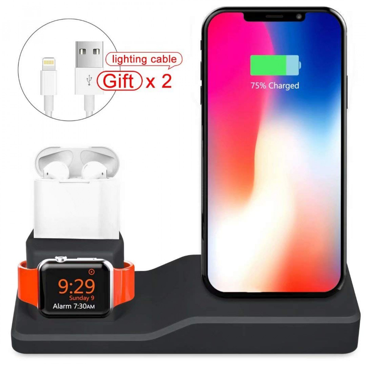 huge selection of e29fe 5b7c9 UHKZ Compatible Apple Watch Charging Stand,Silicone 3 in 1 Charging Docks  Holder for iWatch Apple Watch Series 4/3/2/1/ AirPods/iPhone Xs/X ...