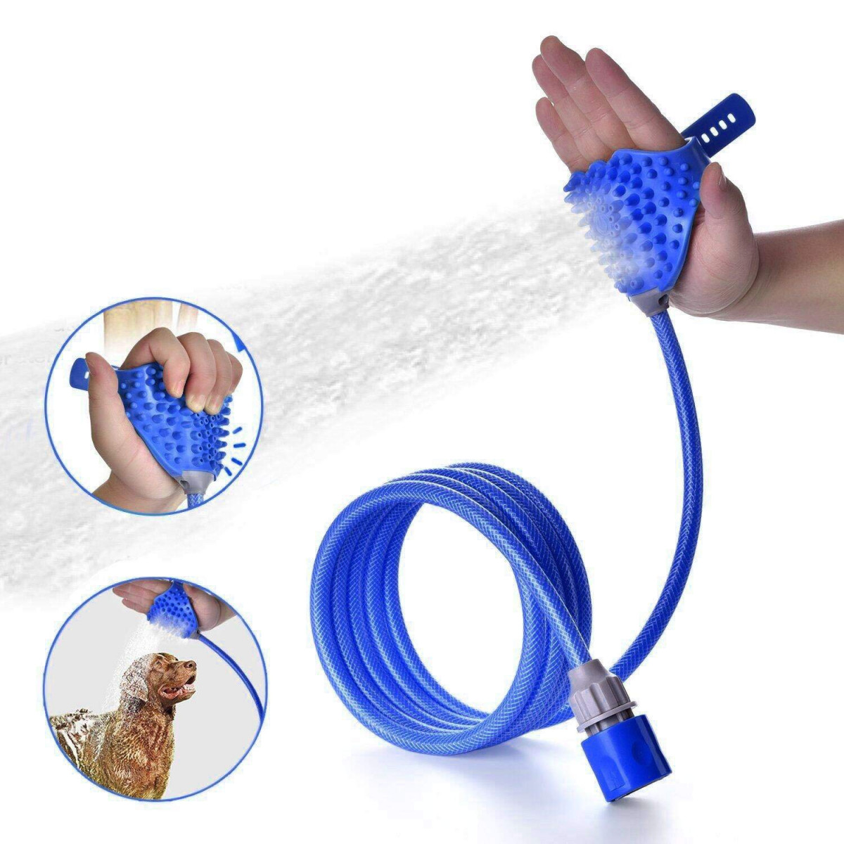 Siksin Pet Bathing Tool Pet Shower Sprayer Massage Scrubber In One For Dog Cat Adjustable Handheld Grooming Shower Head Brush For Bath Tub And